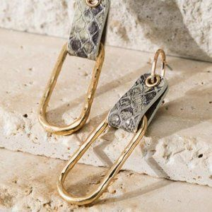 Jewelry - AROUND TOWN FAUX LEATHER METAL DANGLE POST EARRING